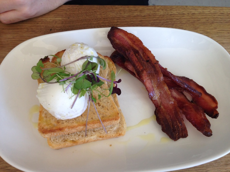 poached eggs + bacon, tall timber