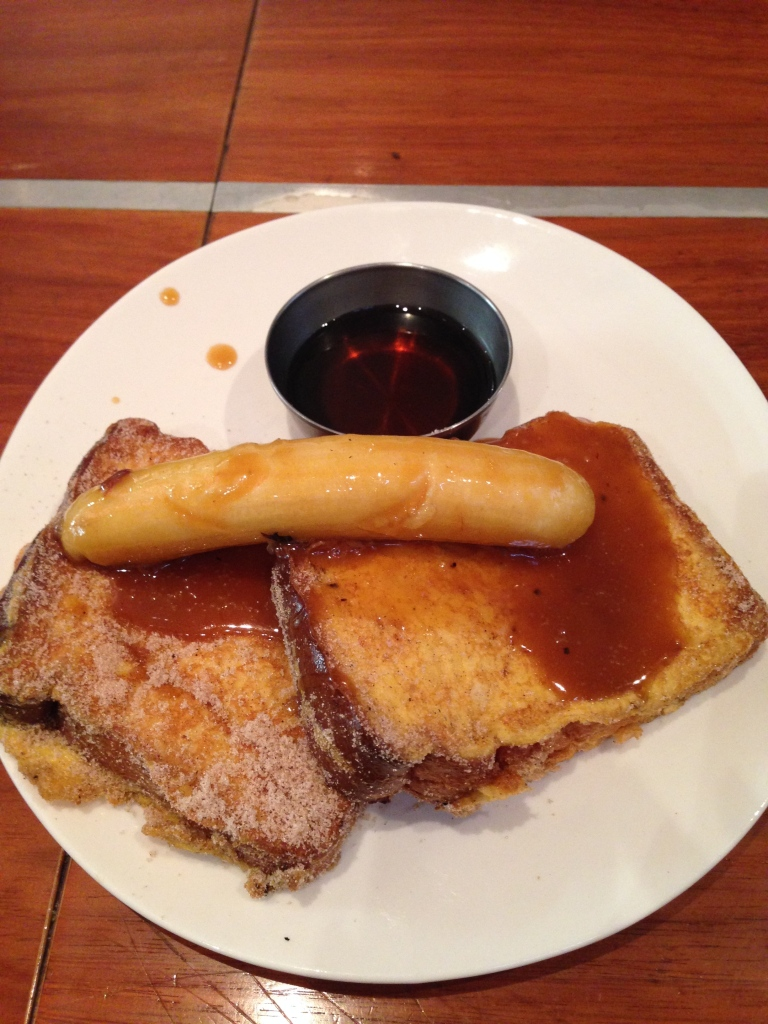french toast with salted caramel banana, gas eatery