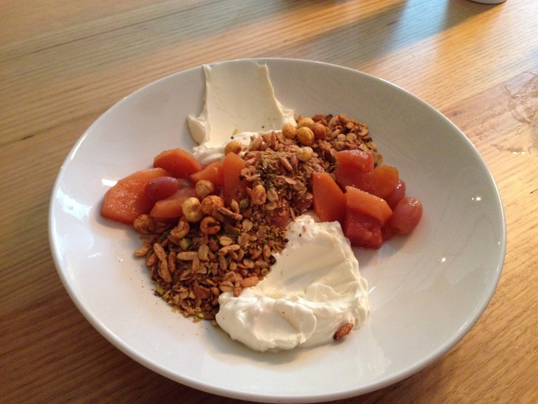 yoghurt and grains, lemon middle and orange