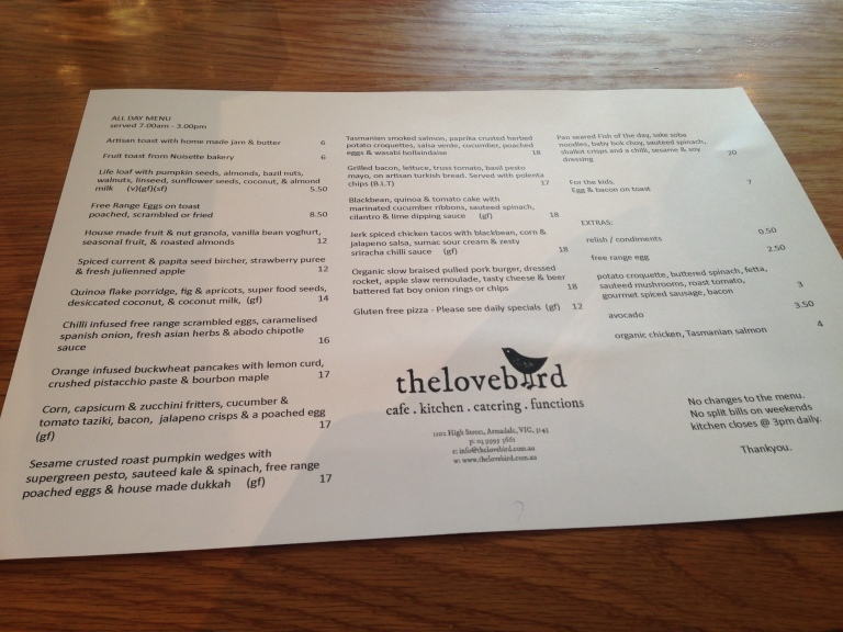 the menu, the lovebird