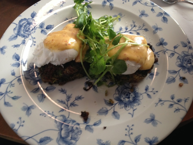 fritters with poached eggs + hollandaise, little rose diner