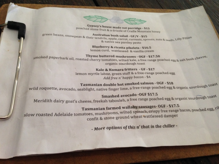 menu, gypsey + musquito