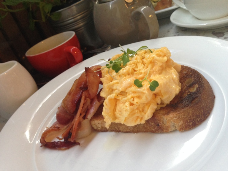 scrambled eggs + bacon, martin st cafe + providore